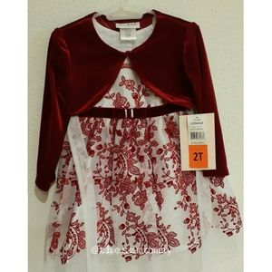 Kids Formal Red Floral Dress with Suede Bolero